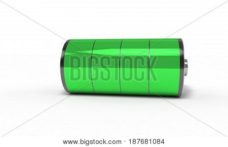 Rechargeable battery full , 3d render working
