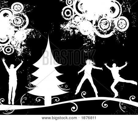 Silhouettes In Winter Landscape