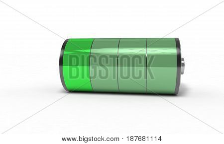 Rechargeable battery low , 3d render working