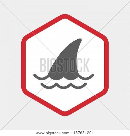 Isolated Hexagon With A Shark Fin