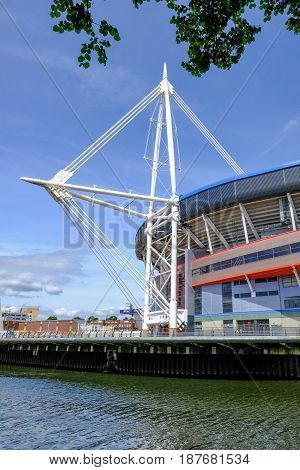 Cardiff Wales - May 21 2017: Millennium Football Stadium vertical shot.