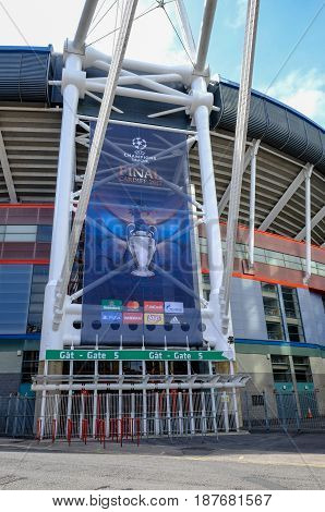 Cardiff Wales - May 21 2017: Millennium Football Stadium Gate 5 with Champions League banner.