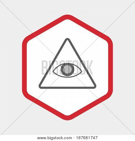 Isolated Hexagon With An All Seeing Eye