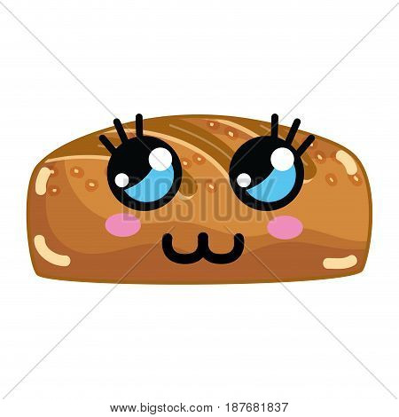 kawaii cute thinking bakery bread, vector illustration