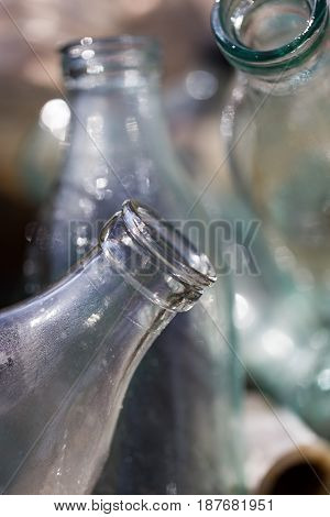 The throat of a glass bottle. background