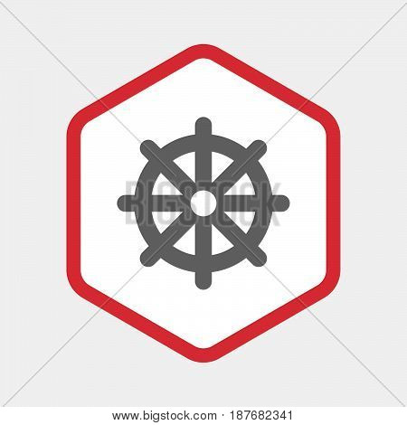 Isolated Hexagon With A Dharma Chakra Sign