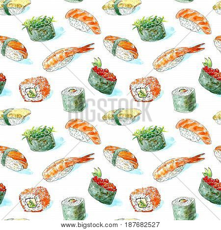 Seamless pattern of a gunkan, sushi and roll. Japanese cuisine.Shrimp, salmon,omelette, red caviar and chuka.Watercolor hand drawn illustration.White background.