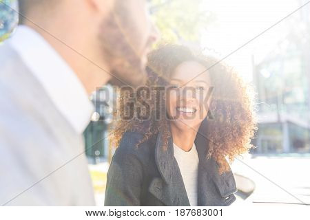 Business Woman And Man Talking
