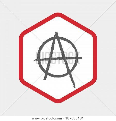 Isolated Hexagon With An Anarchy Sign