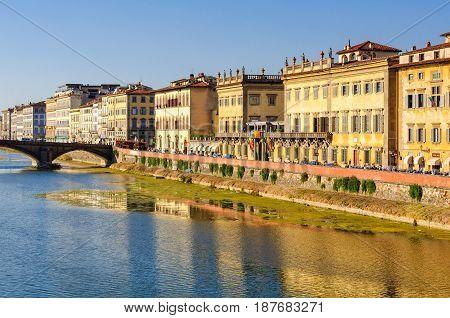 Corsini embankment (lungarno) photographed from the Trinity Bridge (Ponte Trinita) - Florence Tuscany Italy, 4 October 2011