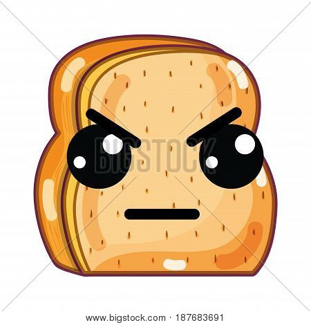 kawaii cute angry chopped bread, vector illustration design