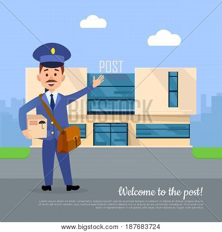 Welcome to the post web banner. Postman pointing on the post office with box package in hands. Modern building of mail postal service. World delivery concept vector poster in cartoon style