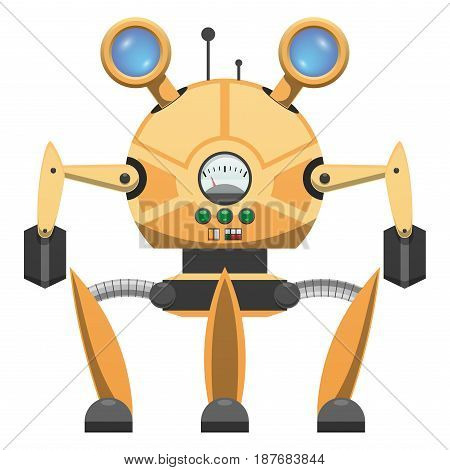 Yellow metallic robot with three legs and two arms isolated on white. Vector illustration of mechanical device with retractable glass eyes, green buttons, switches and measuring scale on circular body
