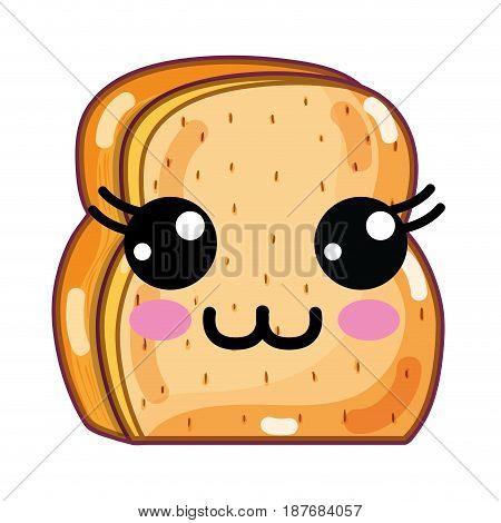 kawaii cute happy chopped bread, vector illustration design