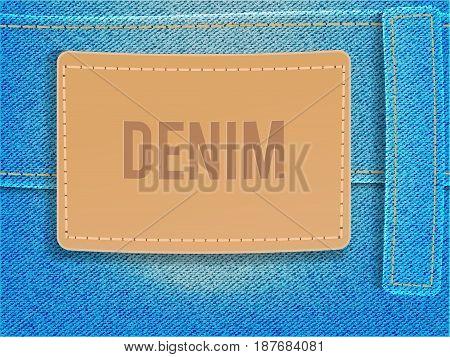 Leather label on light blue denim fabric. Vector illustration template