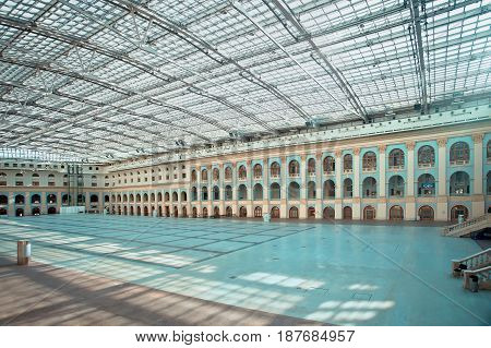 Moscow Russia - May 13 2017: Hall in business cultural and shopping center Gostiny dvor in Moscow Russia. Total area of Gostiny dvor is about 82 thousand square meters.