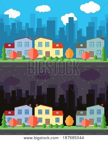 Vector city with three cartoon houses and buildings in the day and night.Summer urban landscape. Street view with cityscape on a background