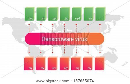 Ransomware virus encrypts the user's documents. Infographic. Editable eps10 Vector. Transparent background.