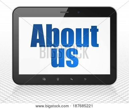 Marketing concept: Tablet Pc Computer with blue text About Us on display, 3D rendering