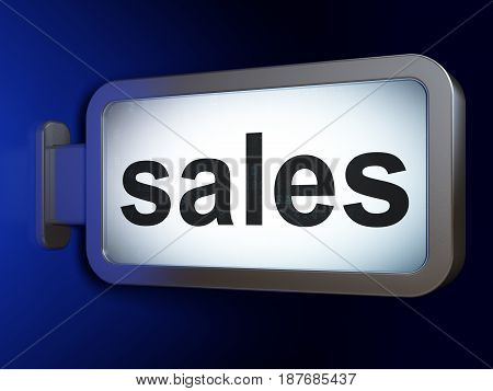 Advertising concept: Sales on advertising billboard background, 3D rendering