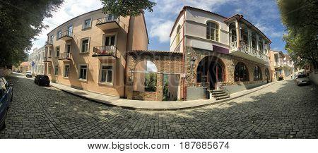 panorama of old street of Signagi, Georgia