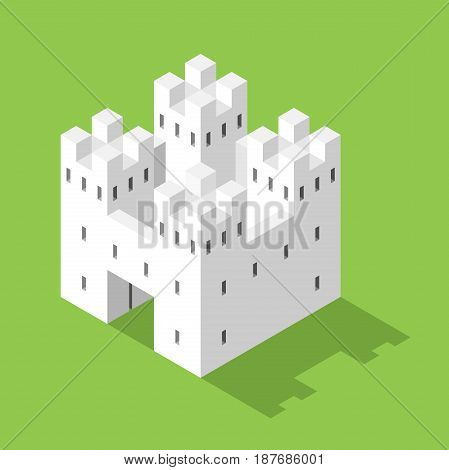 Simple white isometric castle on green background with shadow. Security and real estate concept. Flat design. EPS 8 compatible vector illustration no transparency no gradients