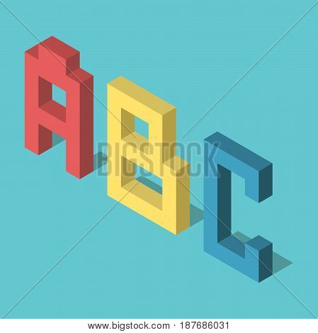 Three colored isometric ABC letters standing on turquoise blue background. Flat design. EPS 8 compatible vector illustration no transparency no gradients