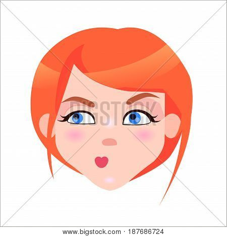 Young woman skeptic face icon. Pretty redhead girl with flush and blue eyes suspicious facial expression isolated flat vector. Female cartoon portrait illustration for women emotions concept