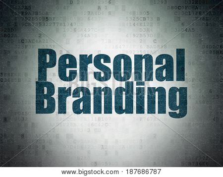 Advertising concept: Painted blue word Personal Branding on Digital Data Paper background