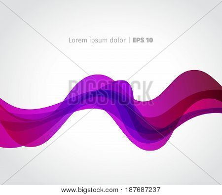 Curve of a pink wave on a light background. Vector aAbstract banner.