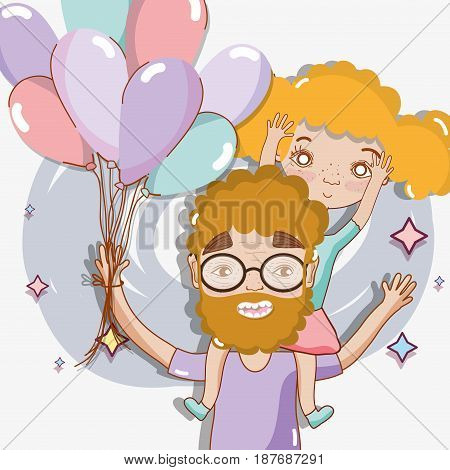 good father playing with her daughter and balloons, vector illustration