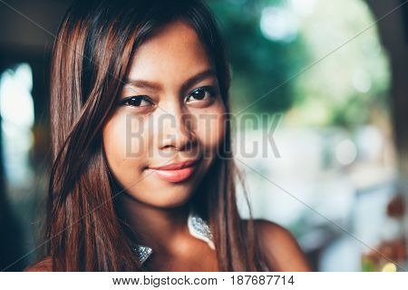 Natural portrait Beautiful Asian girl smiling. Native Asian beauty. Asian woman