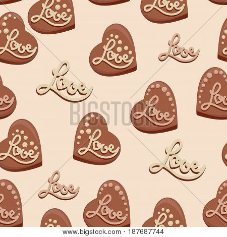 Chocolate hearts with the inscription Love. Candies. Seamless pattern. Design for textiles, napkins, tapestries, tablecloths, wrapping paper