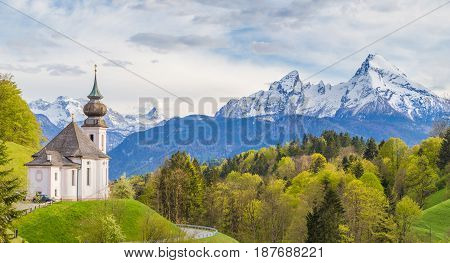 Pilgrimage Church Of Maria Gern With Watzmann Mountain In Springtime, Berchtesgadener Land, Bavaria,