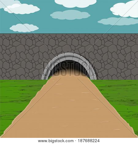 dark tunnel with sandy one way road illustration