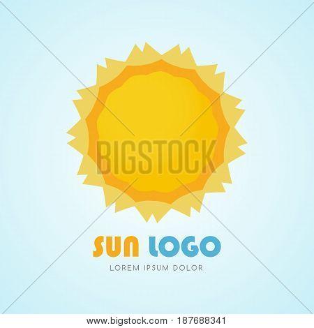 Sun yellow icon logo sign, Graphic illustration