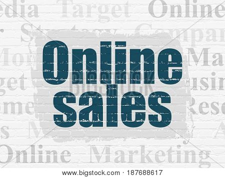 Marketing concept: Painted blue text Online Sales on White Brick wall background with  Tag Cloud
