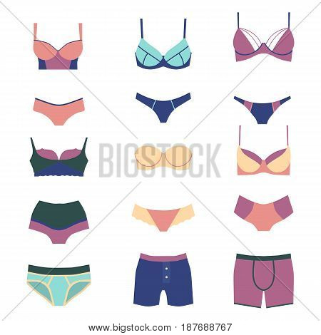 Underwear isolated male and female on white background. Clothing cotton textile pants and underwears set isolated. Beauty woman and man accessory design. Graphic illustration