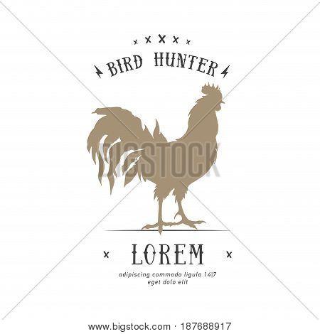Butcher Shop vintage emblem rooster meat products, butchery Logo template retro style. Vintage Design for Logotype, Label, Badge and brand design