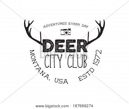 Hand drawn deer vintage badge. Deer city club logo template. Typography insignia with camera. Included deer antlers, text elements. Old style patch. Rustic stamp. Stock vector.