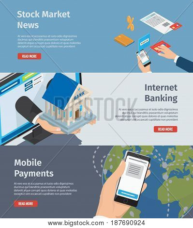 Internet banking, stock market news and mobile payments page with instructions. Banking attributes, Smartphone in arm and hands stretch out bank model from computer monitor vector illustration.