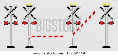 Set of Crossing rail road Sign Vector  illustrator