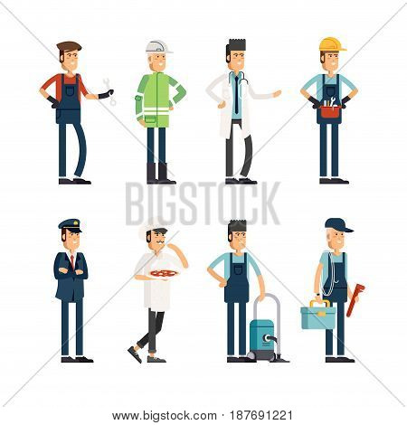 Flat illustration male group of people of different professions on a white background. Vector illustration in a flat style . Man of different professions