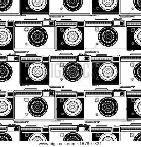 Graphic seamless pattern with vintage slr camera. Coloring book page design for adults and kids.