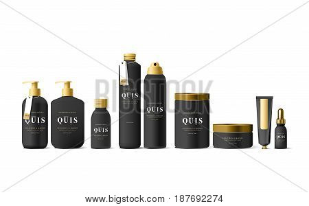 Realistic black cosmetic cream container and tube for cream, ointment, toothpaste, lotion Mock up bottle. Gel, powder, balsam, with design label. Soap pump. Containers for bulk mixtures.