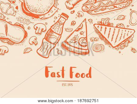Fast food hand drawn typography design. Restaurant or cafe menu cover with pizza, french fries, sandwich, hot dog doodles. Food creative vector illustration template with snack linear sketches.