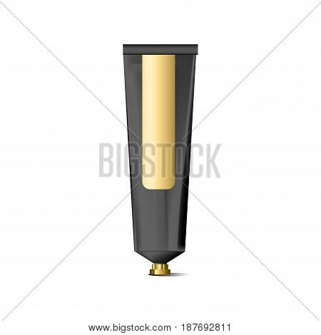 Blank realistic black tube for cosmetics, cream, ointment, toothpaste, lotion, medicine creme with golden design label, sticker. Beauty cosmetic tube. Metallic silver tube cream. White background.