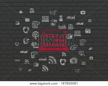 News concept: Painted red Breaking News On Laptop icon on Black Brick wall background with  Hand Drawn News Icons