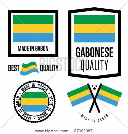 Gabon quality isolated label set for goods. Exporting stamp with gabonese flag, nation manufacturer certificate element, country product vector emblem. Made in Gabon badge collection.