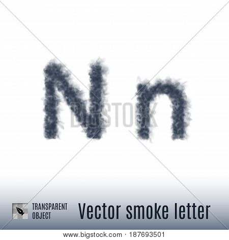 Smoke in Shape of the Letter N on White Background